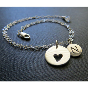 Personalized mother daughter heart bracelet set - RayK designs