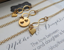 Load image into Gallery viewer, Mother of the bride gift from bride, Mother 2 daughter infinity bracelets, mother of the bride, gold heart cutout, gift for mom & sister - RayK designs
