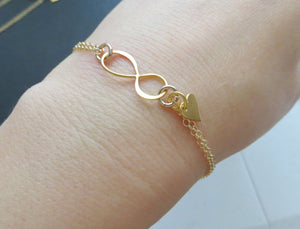 Mother daughter infinity bracelet sets, mother two daughters jewelry, christmas gifts for mom, gold heart cutout charm, mother 2 daughters - RayK designs