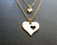 Load image into Gallery viewer, Mother daughter heart cutout charm necklace set - RayK designs