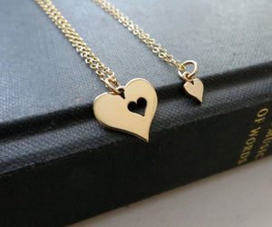 Mother daughter heart cutout charm necklace set - RayK designs