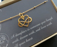 Load image into Gallery viewer, Daughter gift from mom, Entwined infinity necklace, heart charm, gold or sterling silver, gift for daughter, birthday gift, daughter in law - RayK designs