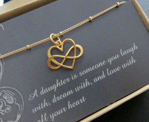 Daughter gift from mom, Entwined infinity necklace, heart charm, gold or sterling silver, gift for daughter, birthday gift, daughter in law - RayK designs