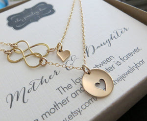 mother daughter gift, mother daughter heart infinity necklace set - RayK designs