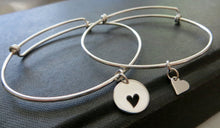 Load image into Gallery viewer, Mother daughter heart bangle, mother daughter bracelet sets, sterling silver charm, mommy and me, love, mom birthday gift - RayK designs
