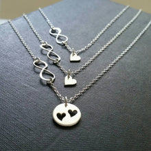 Load image into Gallery viewer, Mother & two daugther infinity heart necklace set - RayK designs