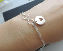 Load image into Gallery viewer, Mother gift from daughter, rose gold Mother daughter infinity bracelets, heart cutout charm, mothers day gift for mom from daughter, share - RayK designs