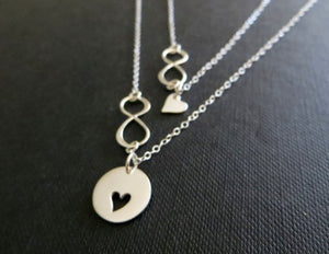 mother daughter gift, mother daughter necklace sets, heart infinity jewelry, card included, anniversary, gift for mom - RayK designs
