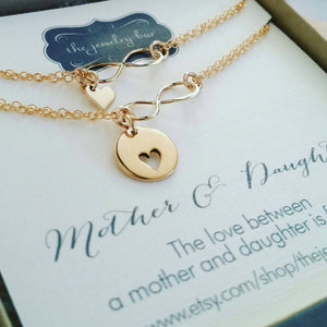 Mother gift from daughter, rose gold Mother daughter infinity bracelets, heart cutout charm, mothers day gift for mom from daughter, share - RayK designs