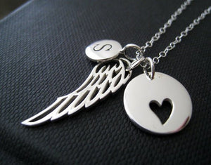 Personalized angel wing necklace, angel wing charm and initial, memorial jewelry, monogram, in loving memory, remembrance, sympathy gift