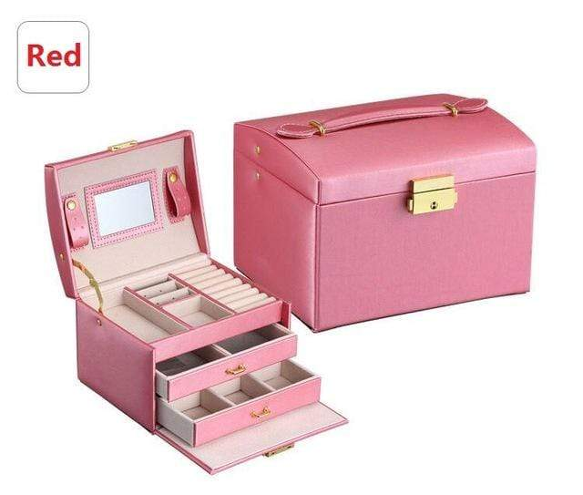 Liwa Street makeup accessories Red / United States Jewelry Packaging Box Casket Box For Jewelry Exquisite Makeup Case Jewelry Organizer Container Boxes Graduation Birthday Gift