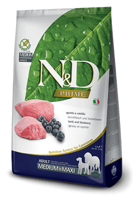 N&D GRAIN FREE Adult Medium & Maxi- jagnjetina in borovnica 12kg