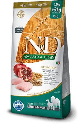 N&D ANCESTRAL GRAIN SELECTION medium&maxi -piščanec12kg+3kg