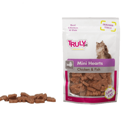 WANPY TRULY MINI HEARTS CHICKEN & FISH priboljški za mačke 50g