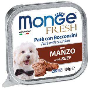 MONGE DOG FRESH PATE- koščki z govedino 100g