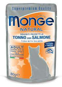 MONGE NATURAL CAT pacifiška tuna in losos 80g