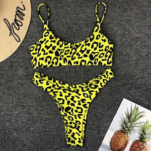 Yellow Leopard Bikini Set - Activeland