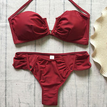 Load image into Gallery viewer, Red Strapless Bikini Set - Activeland