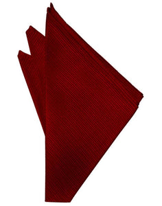 Red Faille Silk Pocket Square