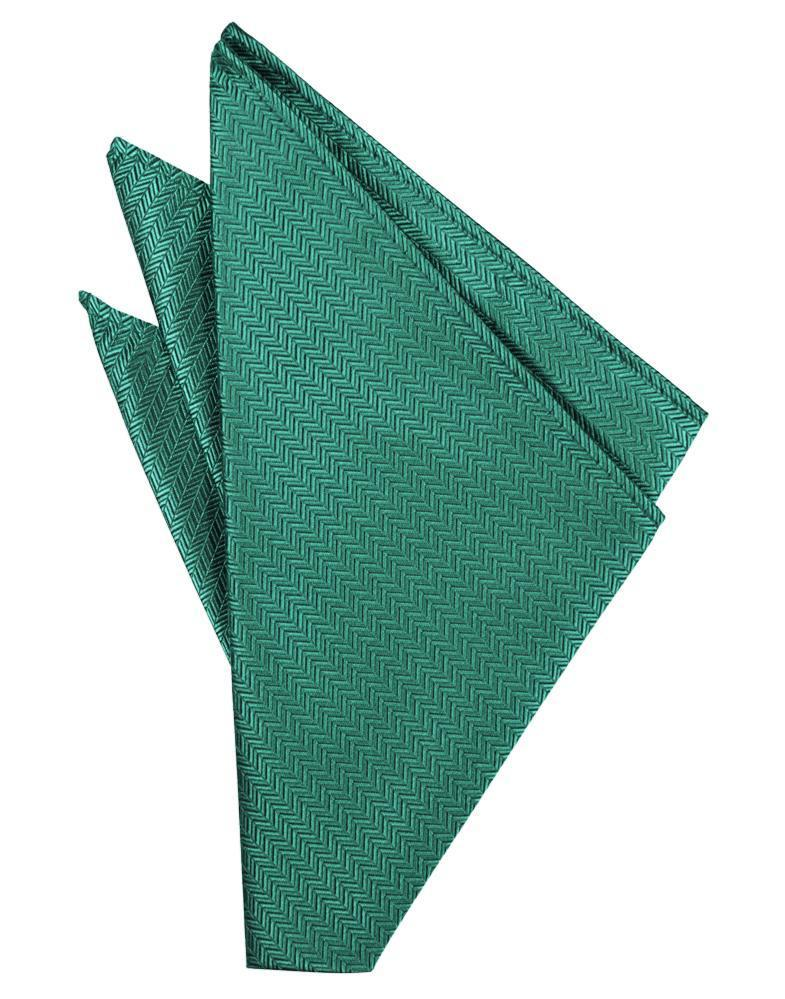 Aqua Herringbone Pocket Square