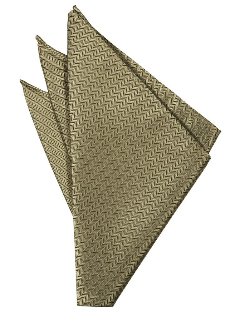 Champagne Herringbone Pocket Square