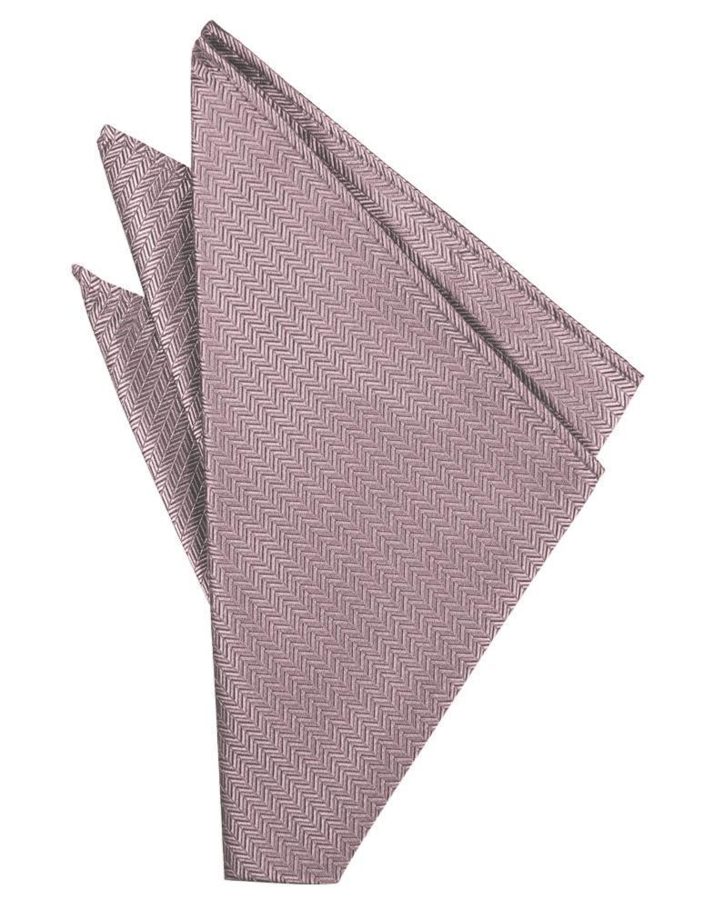 Frosty Pink Herringbone Pocket Square