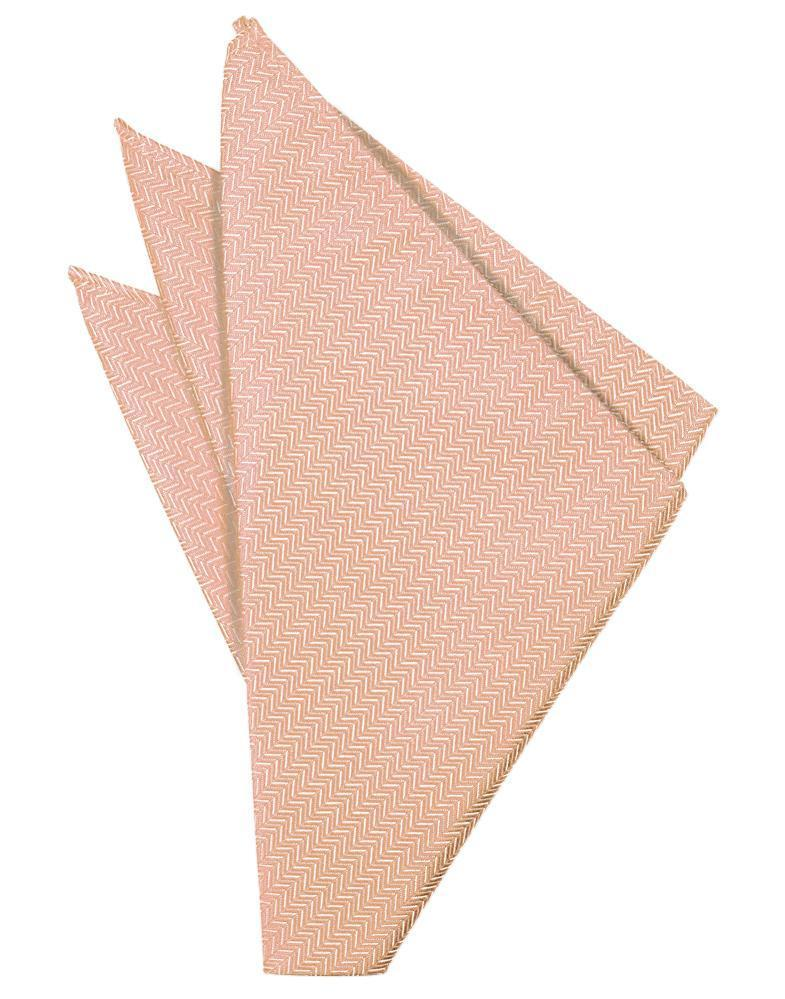 Peach Herringbone Pocket Square