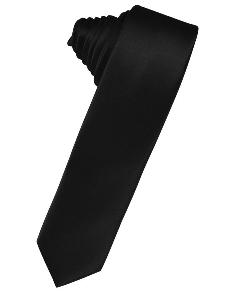 Black Luxury Satin Skinny Necktie