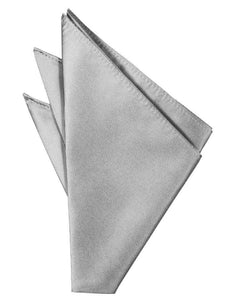 Silver Solid Twill Pocket Square