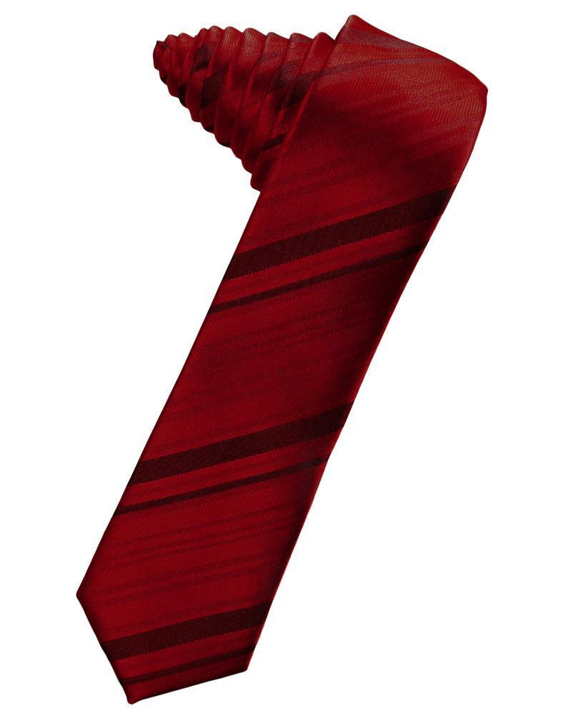 Apple Striped Satin Skinny Necktie