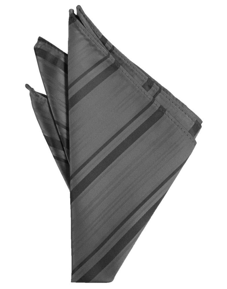 Charcoal Striped Satin Pocket Square