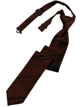 Load image into Gallery viewer, Chocolate Striped Satin Skinny Necktie