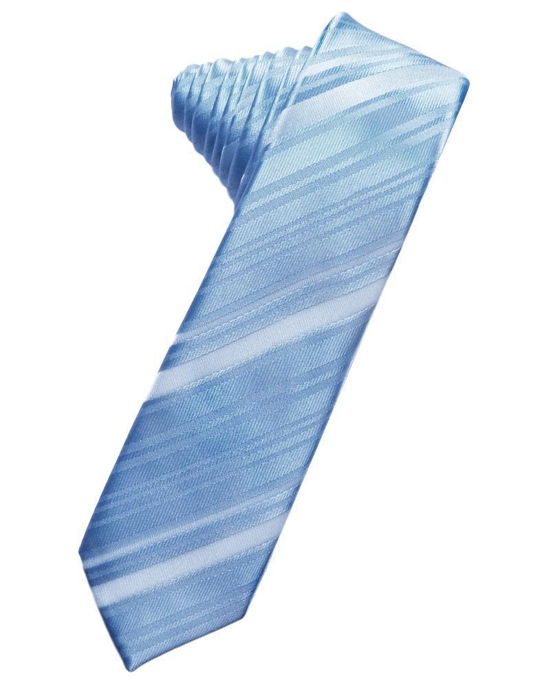 Cornflower Striped Satin Skinny Necktie