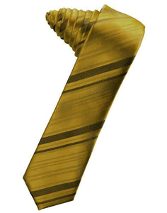 Golden Striped Satin Skinny Necktie