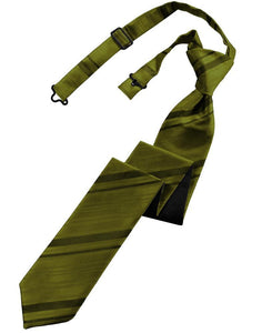 Moss Striped Satin Skinny Necktie