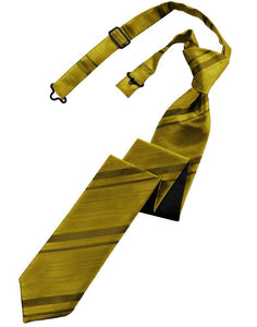 Gold Striped Satin Skinny Necktie