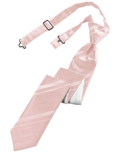 Pink Striped Satin Skinny Necktie