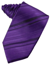 Load image into Gallery viewer, Purple Striped Satin Necktie