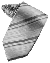Load image into Gallery viewer, Silver Striped Satin Necktie