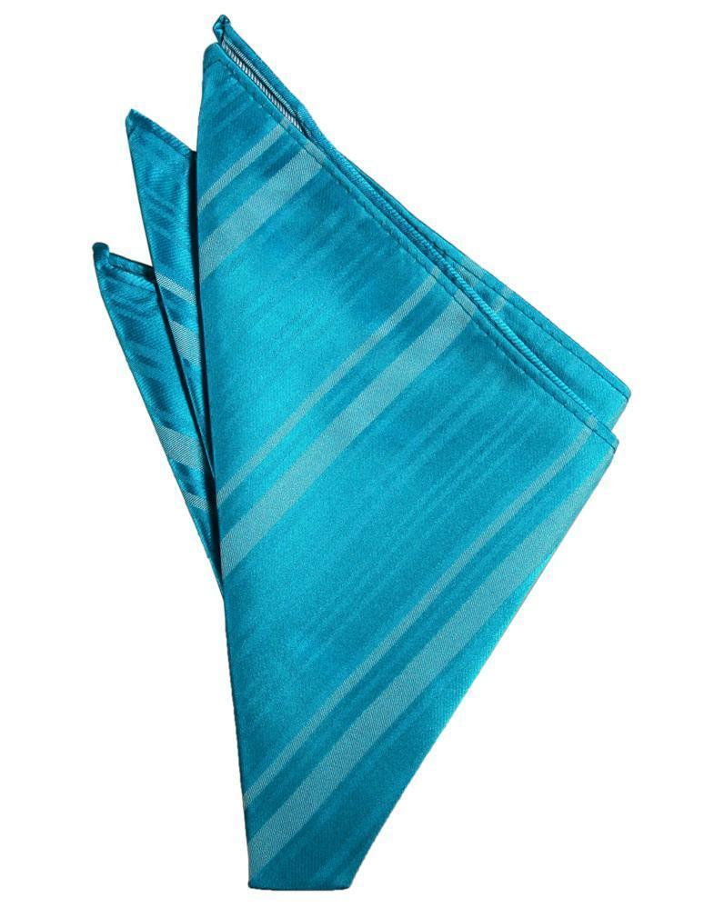 Turquoise Striped Satin Pocket Square