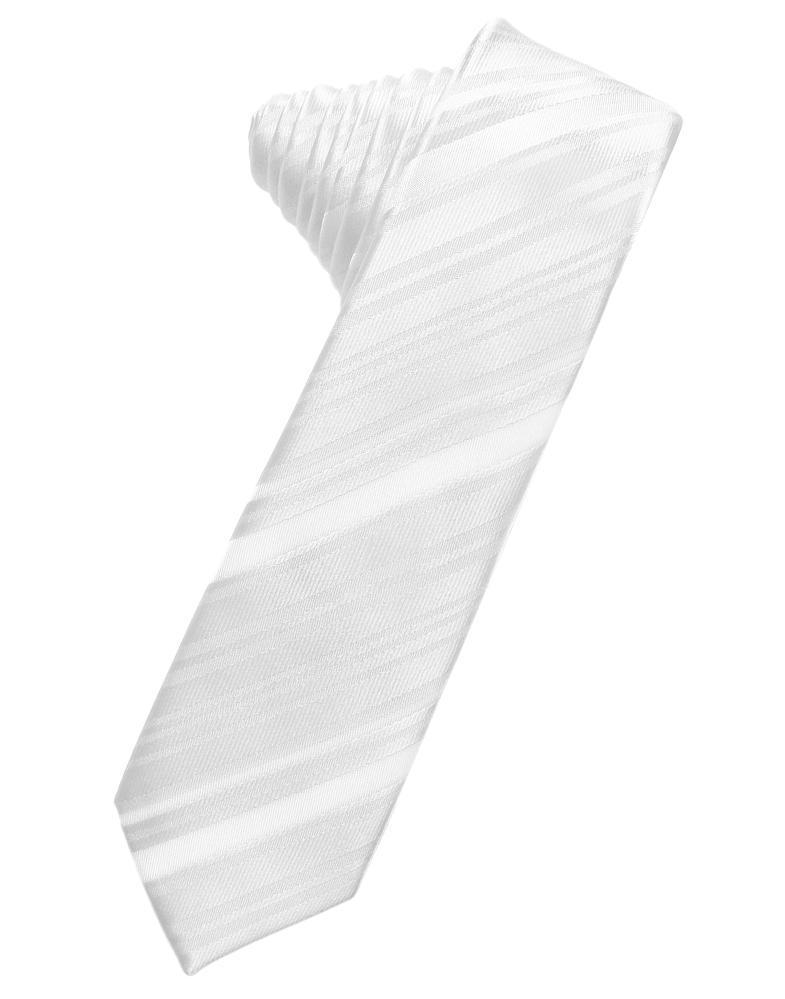 White Striped Satin Skinny Necktie