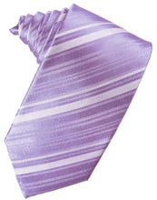 Load image into Gallery viewer, Wisteria Striped Satin Necktie