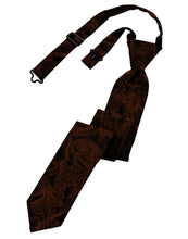 Load image into Gallery viewer, Cognac Tapestry Skinny Necktie