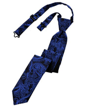 Load image into Gallery viewer, Royal Blue Tapestry Skinny Necktie