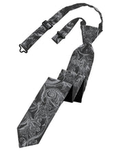 Load image into Gallery viewer, Silver Tapestry Skinny Necktie