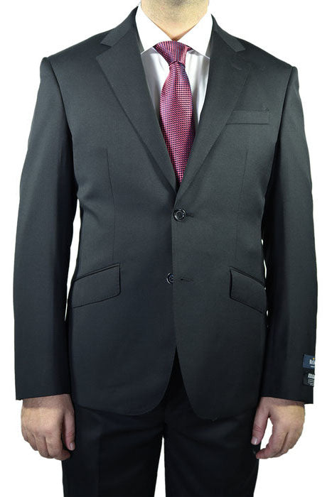 Berragamo Solid Black 2-Button Notch Slim Fit Suit