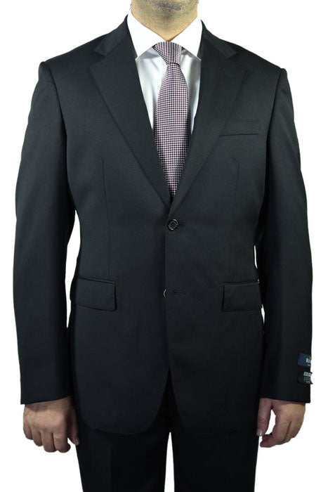 Berragamo Solid Black 2-Button Notch Suit