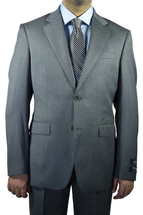 Berragamo Solid Medium Grey 2-Button Notch Slim Fit Suit
