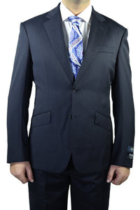 Berragamo Solid Navy 2-Button Notch Slim Fit Suit