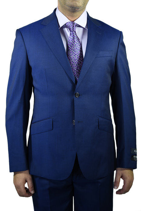 Berragamo Solid New Blue 2-Button Notch Slim Fit Suit